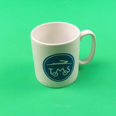 Coffee mug cup with TOMOS logo